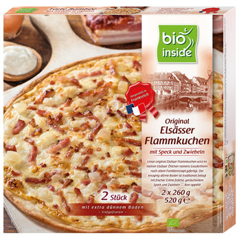 French tartes flambées with bacon and onions